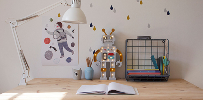 Lampe a poser enfant robot moutarde gris l38cm h22cm little lights normal