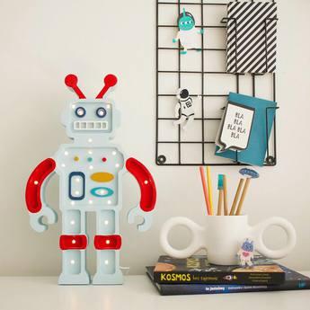 Lampe a poser enfant robot rouge bleu l38cm h22cm little lights normal