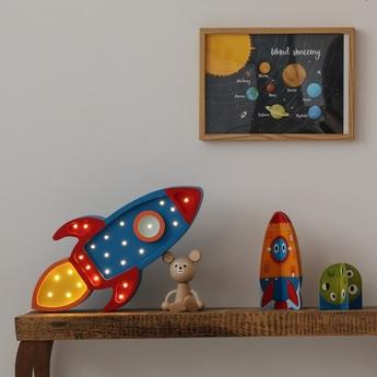Lampe a poser enfant rocket lamp navy red led k lm l42cm h15cm little lights normal