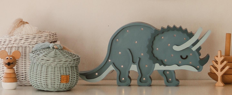Lampe a poser enfant triceratops bleu l49cm h23cm little lights normal