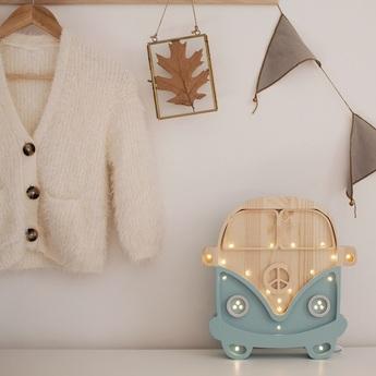 Lampe a poser enfant van bleu retro bois l30cm h29cm little lights normal