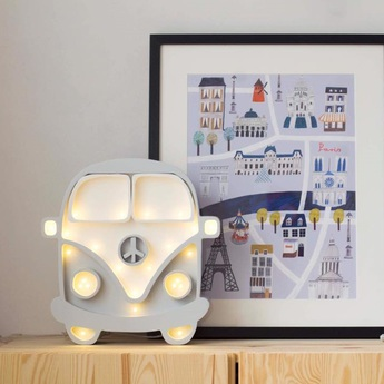 Lampe a poser enfant van gris blanc l30cm h29cm little lights normal