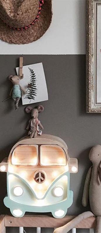 Lampe a poser enfant van menthe bois l30cm h29cm little lights normal
