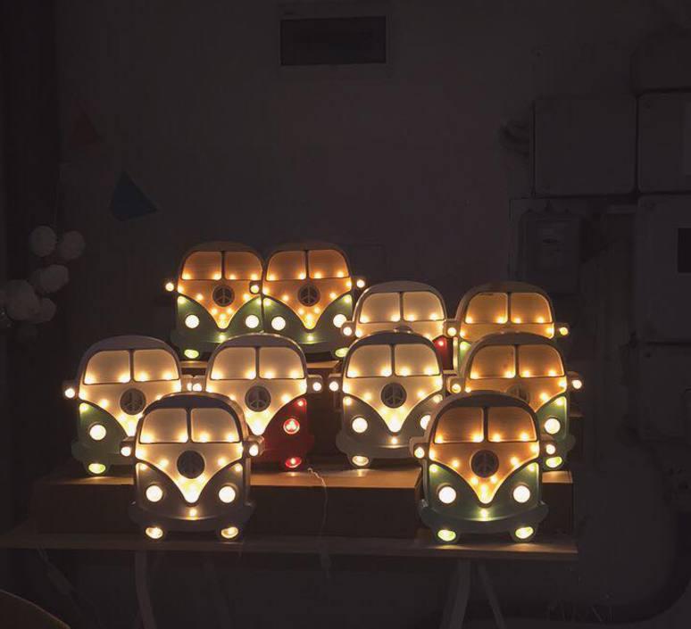 Van studio little lights lampe a poser enfant kids table lamp  little lights van mustard wood  design signed nedgis 73694 product