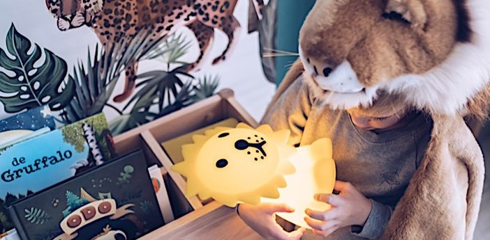 Lampe a poser enfant veilleuse first light lion jaune led 2700k 100lm l19cm h25cm mr maria normal