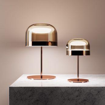 Lampe a poser equatore cuivre led o35 8cm h60cm fontana arte normal