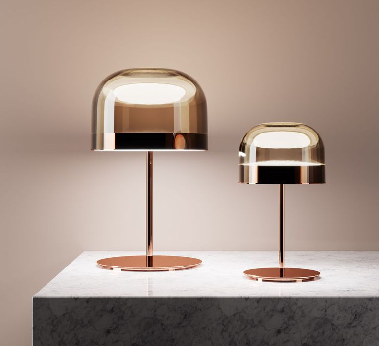 Table Lamp Equatore S Copper Led O23 8cm H42 5cm Fontana Arte