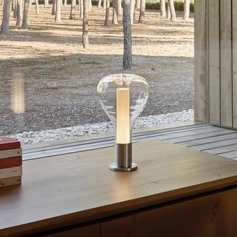 Lampe a poser eris m aluminium blanc ivoire o22cm h40cm lzf normal