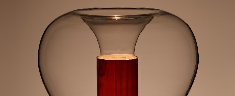 Lampe a poser eris m aluminium bois naturel de cerisier o22cm h40cm lzf normal