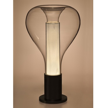 Lampe a poser eris m noir blanc ivoire o22cm h40cm lzf normal