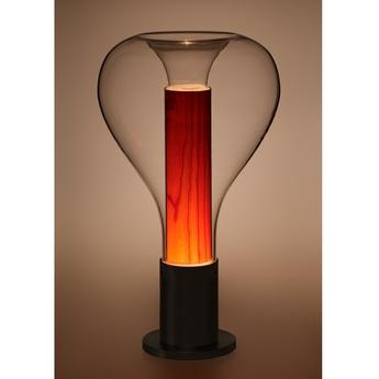 Lampe a poser eris m noir bois naturel de cerisier o22cm h40cm lzf normal