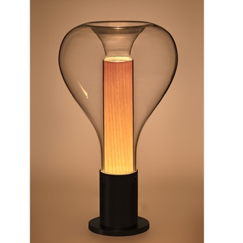 Lampe a poser eris m noir hetre naturel o22cm h40cm lzf normal