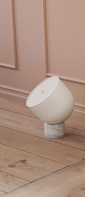 Lampe a poser faro laiton marbre blanc mat l30cm h45cm bolia normal