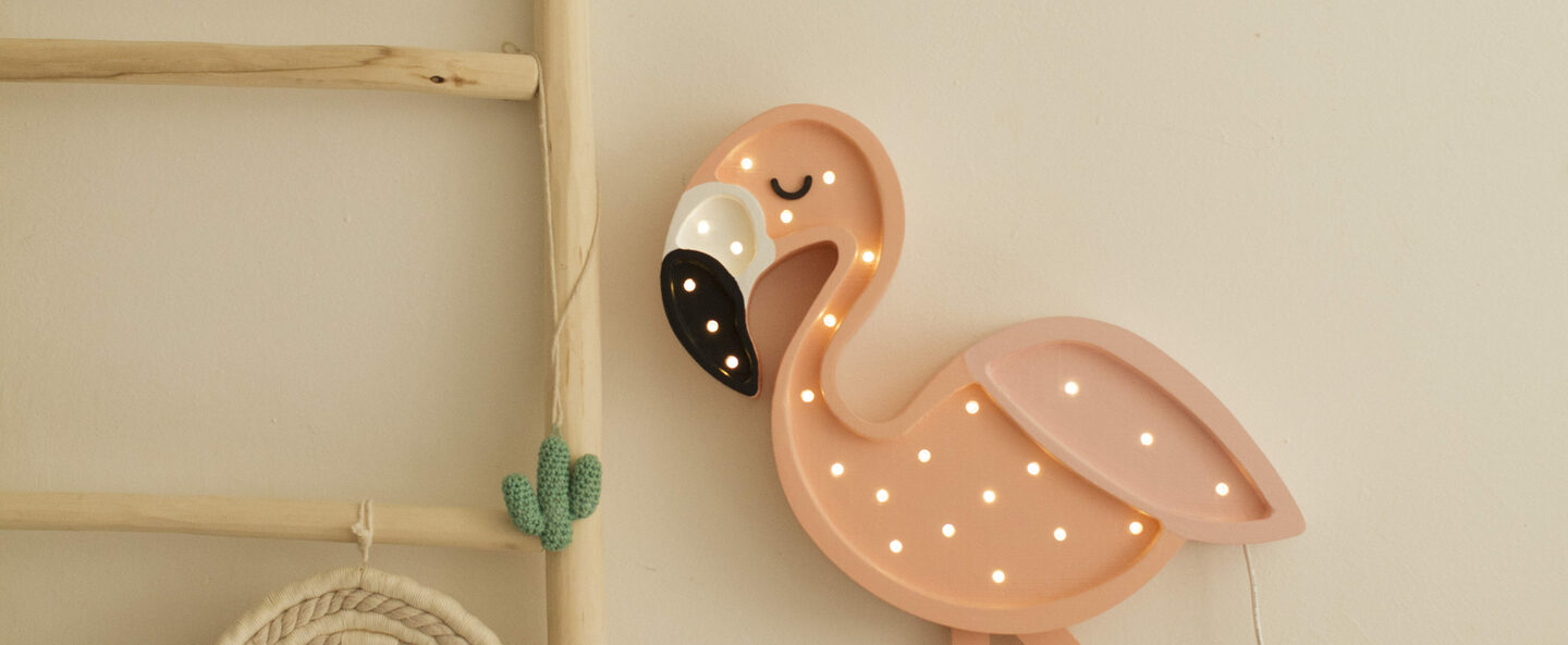Lampe a poser flamant rose flamingo rose l46cm h40cm little lights normal
