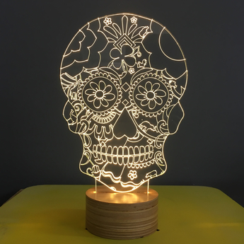 Lampe a poser floral skull blanc l15cm h23cm studio cheha normal