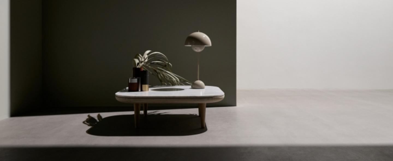 Lampe a poser flowerpot vp3 gris clair h49cm andtradition normal