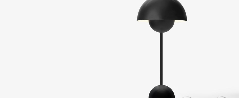 Lampe a poser flowerpot vp3 noir mat l23cm h50cm andtradition normal