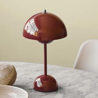 Lampe a poser flowerpot vp9 marron rouge ip44 led 2700k 325lm o16cm h29 5cm andtradition normal