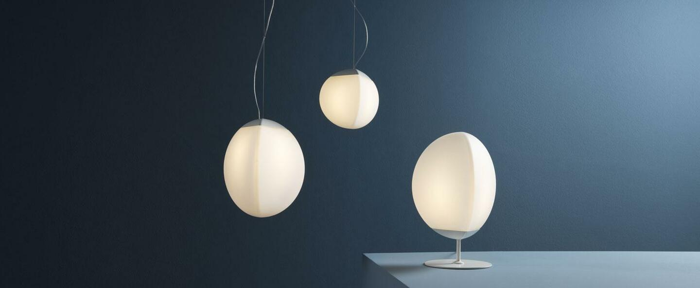 Lampe a poser fruitfull large blanc ip40 led 3000k l26 5cm h40cm fabbian normal