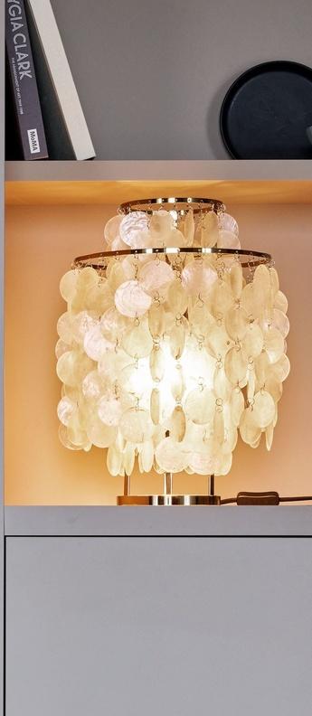 Lampe a poser fun 2tm nacre laiton o27cm h43cm verpan normal
