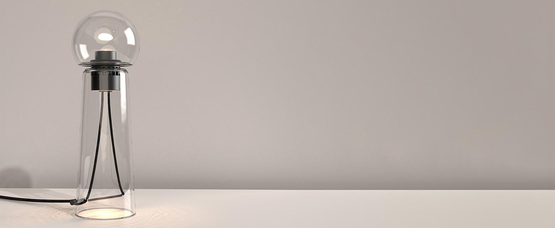 Lampe a poser gigi table transparent led 2200 4000kk 1400lmlm o13 8cm h40 9cm d armes normal