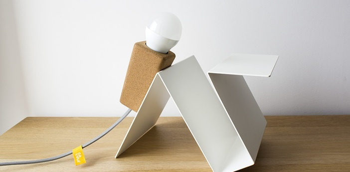 Lampe a poser glint liege clair blanc gris l24cm galula normal