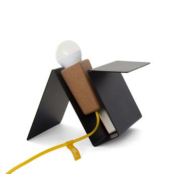 Lampe a poser glint liege clair noir jaune l24cm galula normal