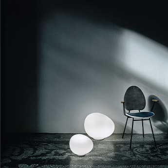 Lampe a poser gregg media blanc et blanc l31cm h26cm foscarini normal