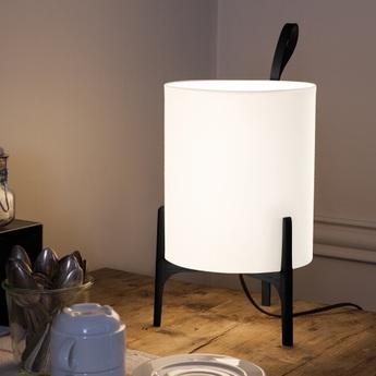 Lampe a poser greta chene noir blanc o20cm h33cm carpyen normal