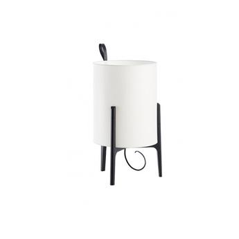 Lampe a poser greta chene noir blanc o26cm h44cm carpyen normal
