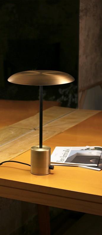 Lampe a poser hoshi noir cuivre h40cm o26cm faro normal