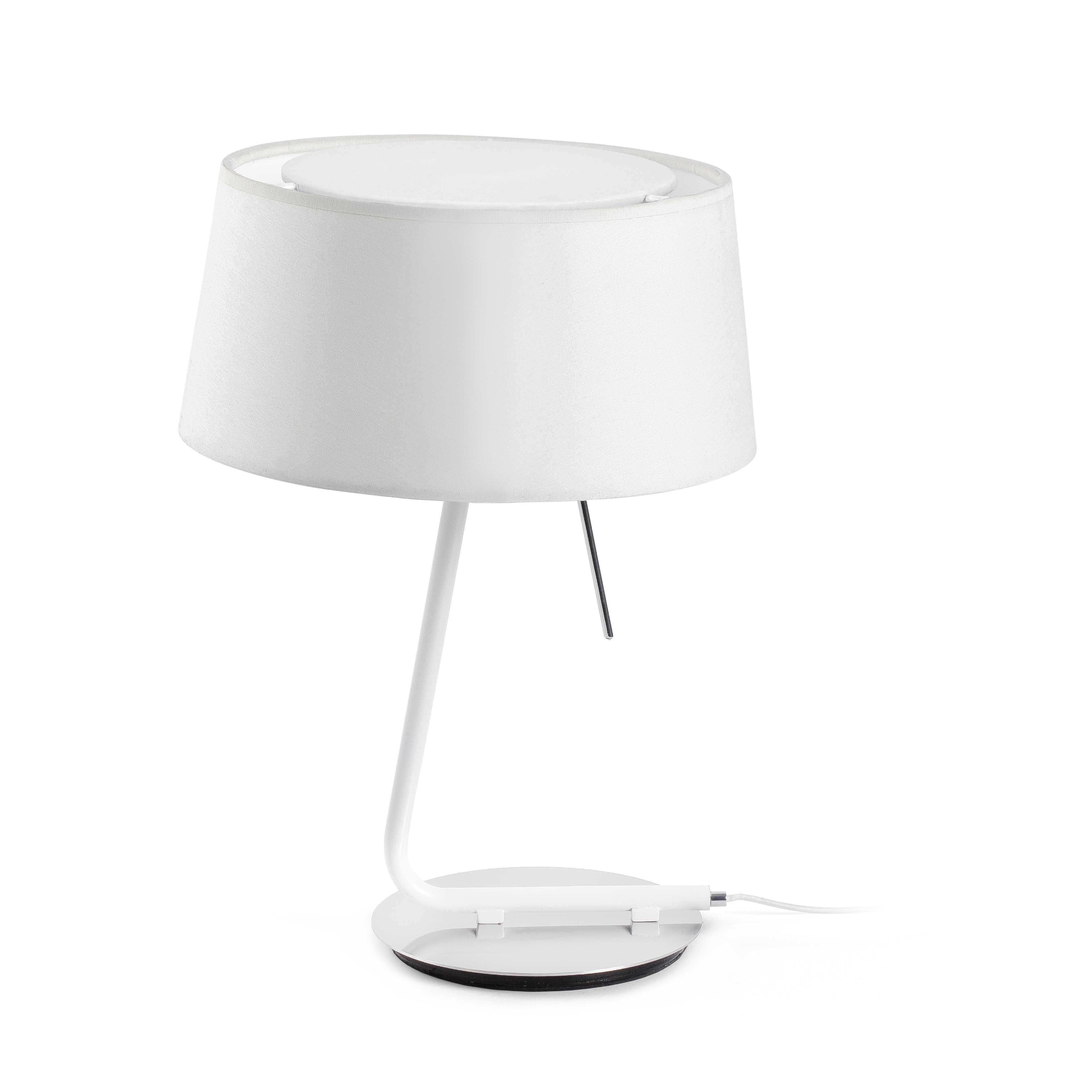 lampe poser h tel blanc h37cm faro luminaires nedgis. Black Bedroom Furniture Sets. Home Design Ideas