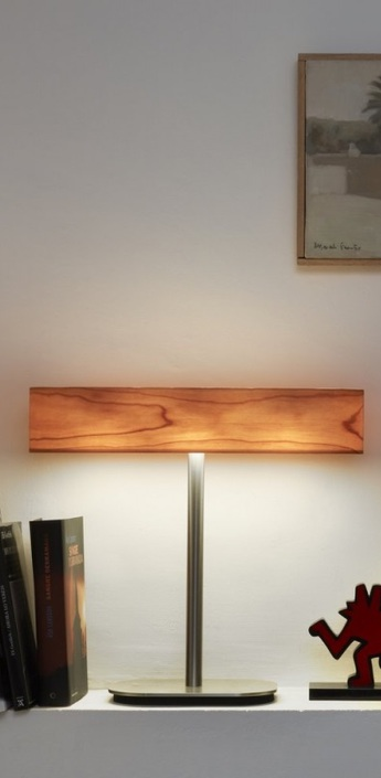 Lampe a poser i club bois naturel de cerisier h36 5cm lzf normal