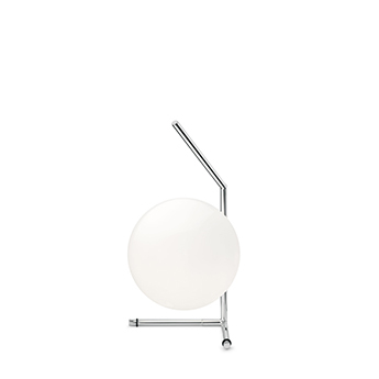 Lampe a poser ic lights table 1 low opalin et chrome o20cm h38 1cm flos normal