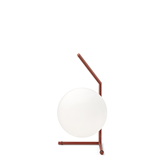 Lampe a poser ic lights table 1 low opalin et rouge burgundy o20cm h38 1cm flos normal