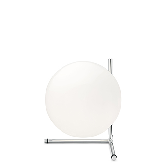 Lampe a poser ic lights table 2 opalin et chrome o30cm h35cm flos normal