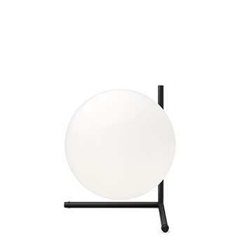 Lampe a poser ic lights table 2 opalin et noir o30cm h35cm flos normal