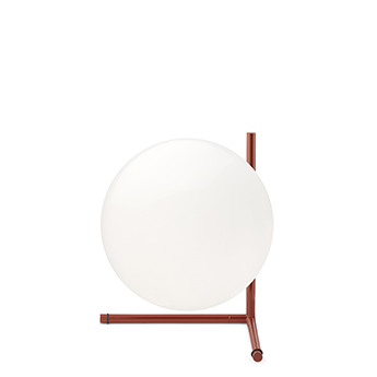 Lampe a poser ic lights table 2 opalin et rouge burgundy o30cm h35cm flos normal