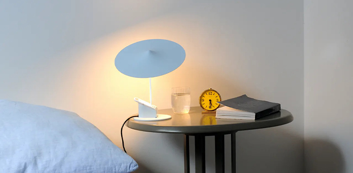 Lampe a poser ile blanc traffic led 2700k 690lm o20cm h19cm wastberg normal