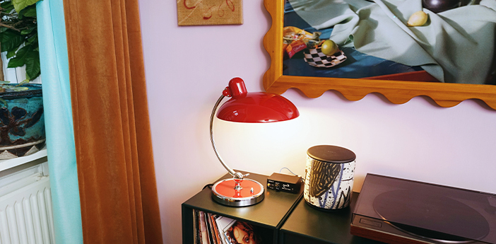 Lampe a poser kaiser idell 6631 t luxus rouge rubis l28 5cm h42 5cm lightyears normal