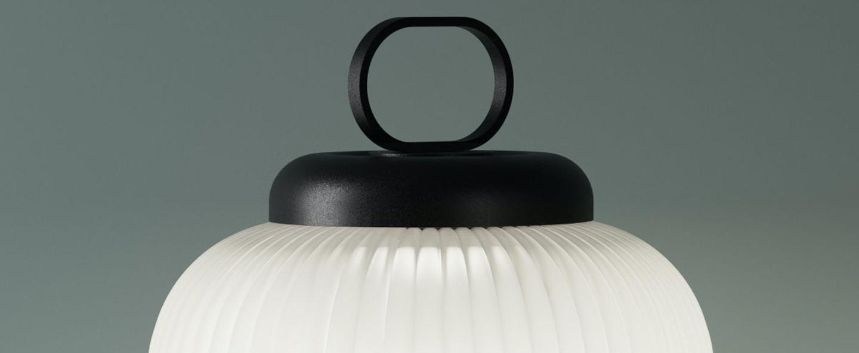 Lampe a poser kanji blanc noir led 2700k 900lm o31cm h52cm fontana arte normal
