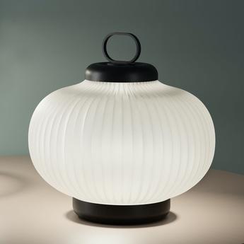 Lampe a poser kanji blanc noir led 2700k 900lm o43cm h39cm fontana arte normal