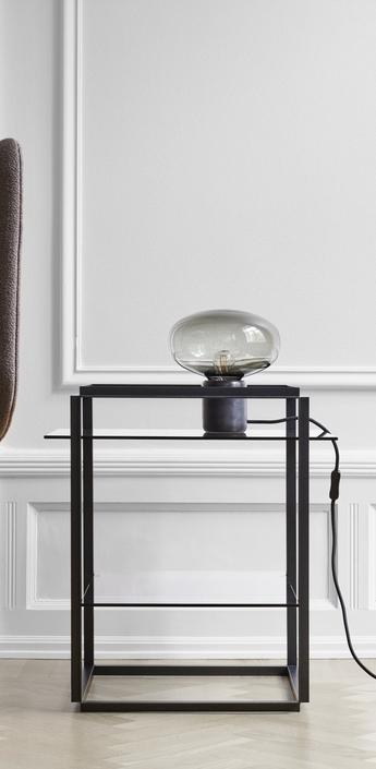 Lampe a poser karl johan marbre verre fume noir o23cm h23 5 cm new works normal