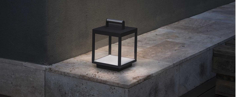 Lampe a poser kerala gris fonce led l28cm h26cm faro normal
