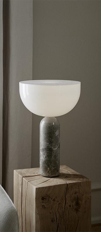 Lampe a poser kizu large blanc et marbre gris du marais o30cm h45cm newworks normal