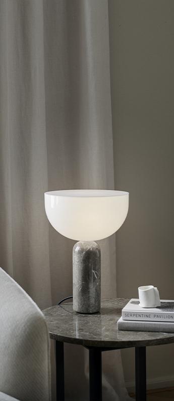 Lampe a poser kizu small blanc et marbre gris du marais o25cm h35cm newworks normal