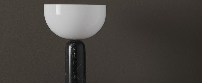 Lampe a poser kizu small marbre noir blanc o25cm h35cm new works normal