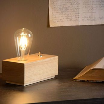 Lampe a poser kobe bois naturel l20cm h8cm it s about romi normal