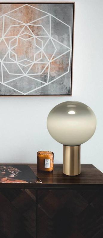 Lampe a poser laguna tavolo transparent fume laiton satine dimmable o26cm h38 3cm artemide normal