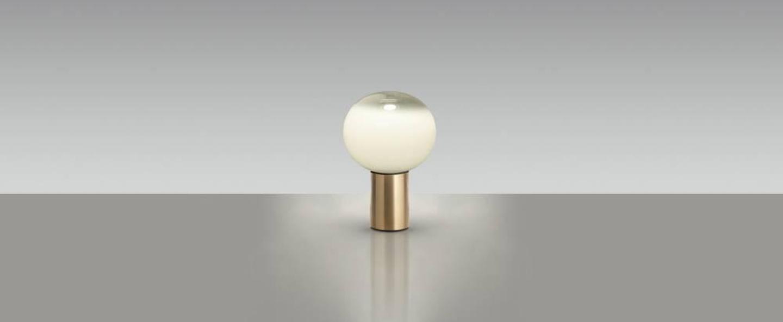 Lampe a poser laguna tavolo transparent fume laiton satine o16cm h24 1cm artemide normal
